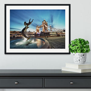 Tower Bridge and St Katharine Docks Girl Framed Print - Canvas Art Rocks - 1