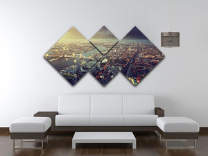 Tower Bridge in sunset time 4 Square Multi Panel Canvas  - Canvas Art Rocks - 3