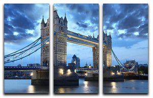 Tower Bridge in the evening 3 Split Panel Canvas Print - Canvas Art Rocks - 1