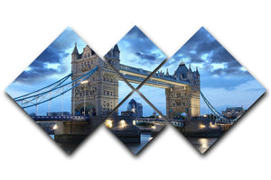 Tower Bridge in the evening 4 Square Multi Panel Canvas  - Canvas Art Rocks - 1