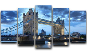 Tower Bridge in the evening 5 Split Panel Canvas  - Canvas Art Rocks - 1