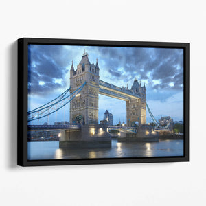 Tower Bridge in the evening Floating Framed Canvas