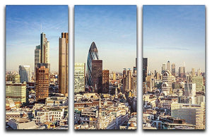 Tower Lloyds of London and Canary Wharf 3 Split Panel Canvas Print - Canvas Art Rocks - 1