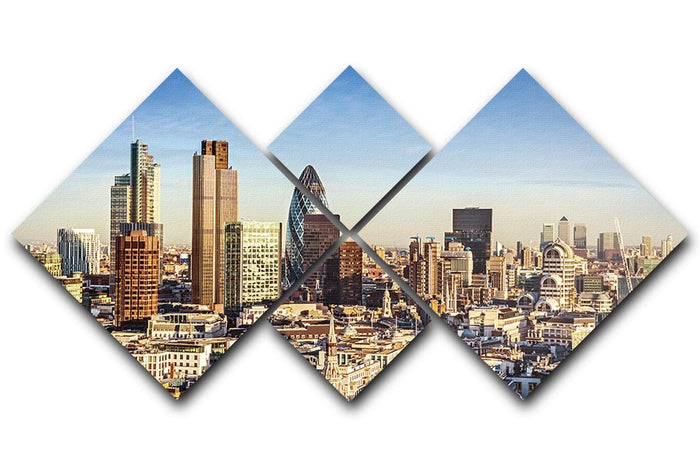 Tower Lloyds of London and Canary Wharf 4 Square Multi Panel Canvas