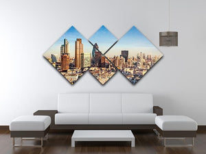 Tower Lloyds of London and Canary Wharf 4 Square Multi Panel Canvas  - Canvas Art Rocks - 3