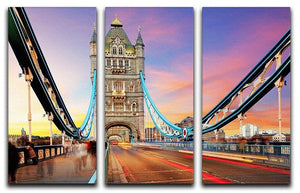 Tower bridge Motion 3 Split Panel Canvas Print - Canvas Art Rocks - 1