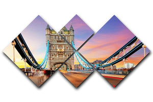 Tower bridge Motion 4 Square Multi Panel Canvas  - Canvas Art Rocks - 1