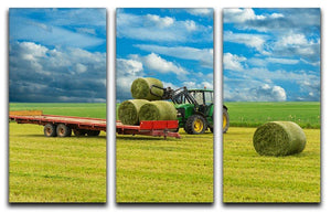 Tractor and trailer with hay bales 3 Split Panel Canvas Print - Canvas Art Rocks - 1