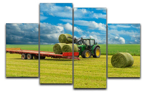 Tractor and trailer with hay bales 4 Split Panel Canvas  - Canvas Art Rocks - 1