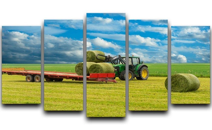 Tractor and trailer with hay bales 5 Split Panel Canvas