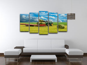 Tractor and trailer with hay bales 5 Split Panel Canvas  - Canvas Art Rocks - 3