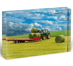 Tractor and trailer with hay bales Acrylic Block - Canvas Art Rocks - 1