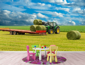 Tractor and trailer with hay bales Wall Mural Wallpaper - Canvas Art Rocks - 3