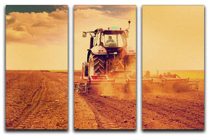 Tractor in sunset 3 Split Panel Canvas Print - Canvas Art Rocks - 1
