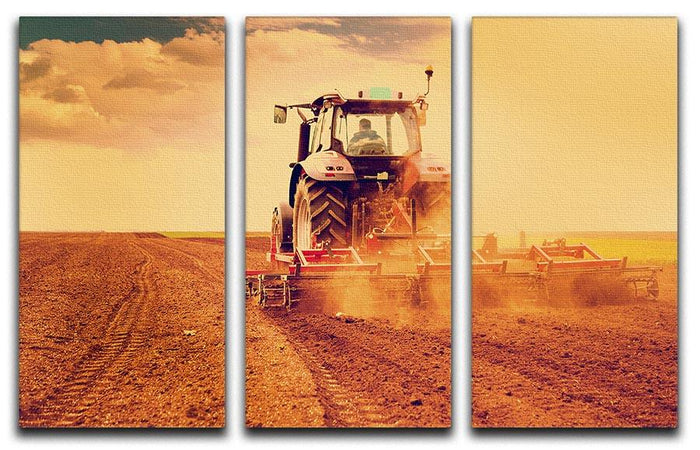 Tractor in sunset 3 Split Panel Canvas Print