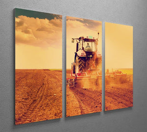Tractor in sunset 3 Split Panel Canvas Print - Canvas Art Rocks - 2