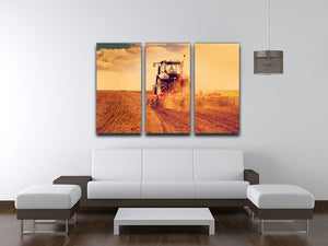 Tractor in sunset 3 Split Panel Canvas Print - Canvas Art Rocks - 3