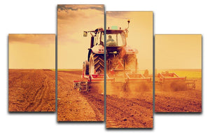 Tractor in sunset 4 Split Panel Canvas  - Canvas Art Rocks - 1