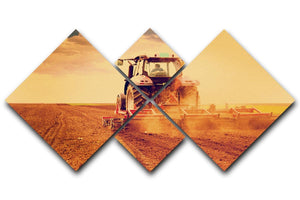 Tractor in sunset 4 Square Multi Panel Canvas  - Canvas Art Rocks - 1