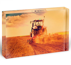 Tractor in sunset Acrylic Block - Canvas Art Rocks - 1