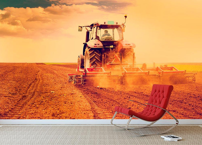 Tractor in sunset Wall Mural Wallpaper - Canvas Art Rocks - 1