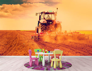Tractor in sunset Wall Mural Wallpaper - Canvas Art Rocks - 3