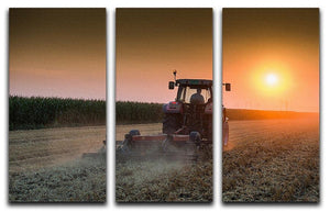 Tractor plowing field at dusk 3 Split Panel Canvas Print - Canvas Art Rocks - 1