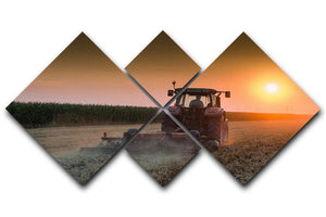 Tractor plowing field at dusk 4 Square Multi Panel Canvas  - Canvas Art Rocks - 1