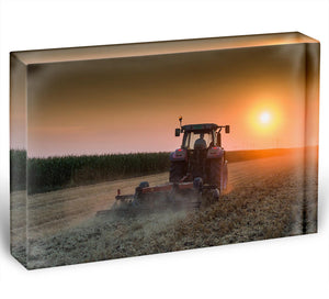 Tractor plowing field at dusk Acrylic Block - Canvas Art Rocks - 1