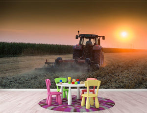 Tractor plowing field at dusk Wall Mural Wallpaper - Canvas Art Rocks - 3