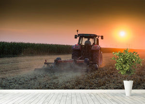 Tractor plowing field at dusk Wall Mural Wallpaper - Canvas Art Rocks - 4