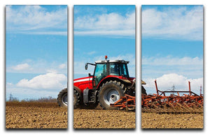 Tractor plowing the field 3 Split Panel Canvas Print - Canvas Art Rocks - 1