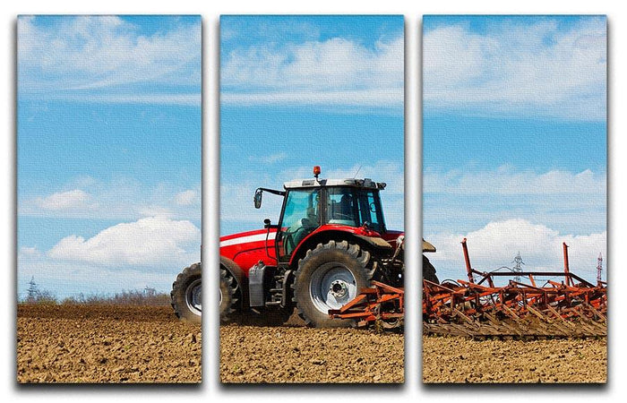 Tractor plowing the field 3 Split Panel Canvas Print