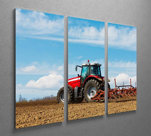 Tractor plowing the field 3 Split Panel Canvas Print - Canvas Art Rocks - 2