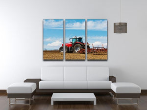 Tractor plowing the field 3 Split Panel Canvas Print - Canvas Art Rocks - 3