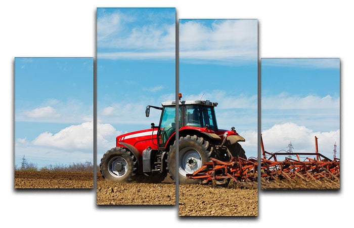 Tractor plowing the field 4 Split Panel Canvas