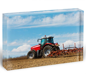 Tractor plowing the field Acrylic Block - Canvas Art Rocks - 1
