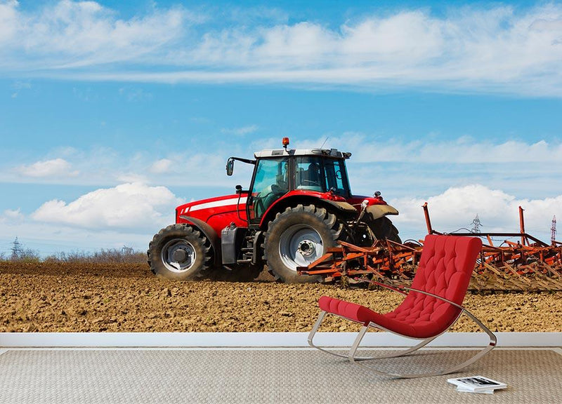Tractor plowing the field Wall Mural Wallpaper - Canvas Art Rocks - 1