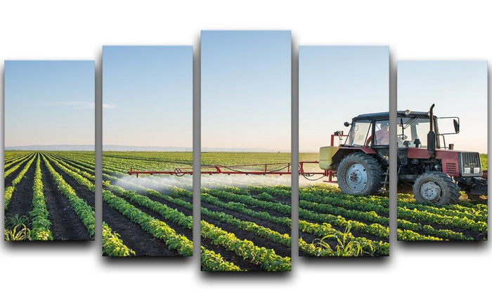 Tractor spraying 5 Split Panel Canvas