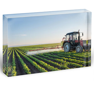 Tractor spraying Acrylic Block - Canvas Art Rocks - 1