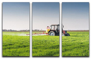 Tractor spraying wheat field 3 Split Panel Canvas Print - Canvas Art Rocks - 1