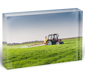 Tractor spraying wheat field Acrylic Block - Canvas Art Rocks - 1
