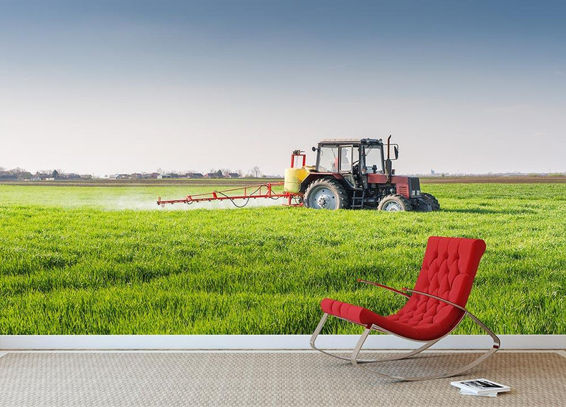 Tractor spraying wheat field Wall Mural Wallpaper - Canvas Art Rocks - 1