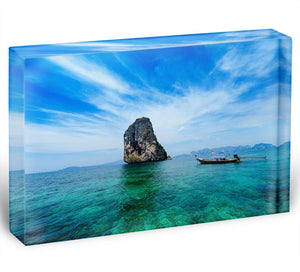 Traditional Thai boat in the blue sea Acrylic Block - Canvas Art Rocks - 1