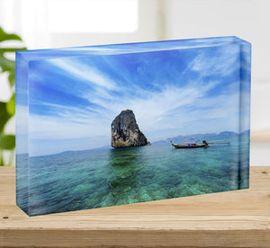 Traditional Thai boat in the blue sea Acrylic Block - Canvas Art Rocks - 2