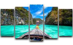 Traditional wooden boat 5 Split Panel Canvas  - Canvas Art Rocks - 1