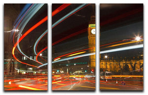 Traffic in night London 3 Split Panel Canvas Print - Canvas Art Rocks - 1