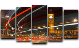 Traffic in night London 5 Split Panel Canvas  - Canvas Art Rocks - 1