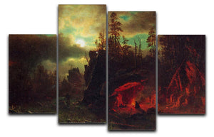 Trapper's camp by Bierstadt 4 Split Panel Canvas - Canvas Art Rocks - 1