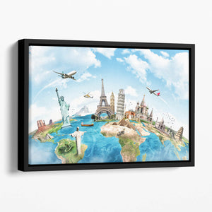 Travel the world Floating Framed Canvas